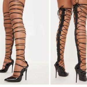 Black thigh high court shoe size US 8